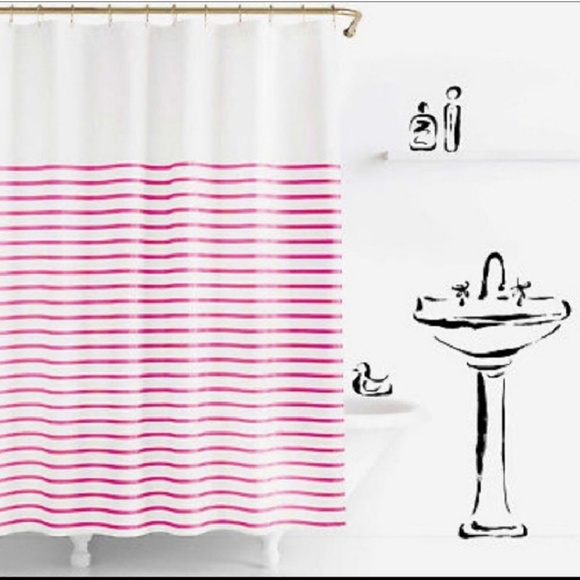 BOGO FREE Kate Spade Pink Striped Shower Curtain